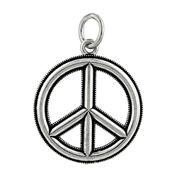 "Sterling Silver Oxydized 1"" Peace Sign Pendant"