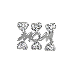 "Sterling Silver 'Mom"" with Hearts Pendant"