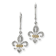 14K White Gold & Rhodium Diamond Fleur De Lis Earrings