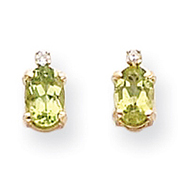 14K Gold Diamond & Peridot Birthstone Earrings