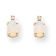 14K Gold Diamond & Opal Birthstone Earrings