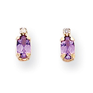 14K Gold Diamond &  Amethyst Birthstone Earrings