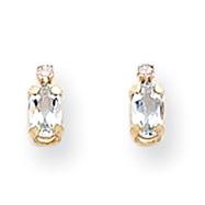 14K Gold Diamond &  Aquamarine Birthstone Earrings