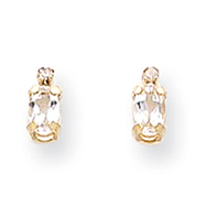 14K Gold Diamond & White Topaz Birthstone Earrings