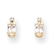 14K Gold Diamond & White Topaz Birthstone Earrings