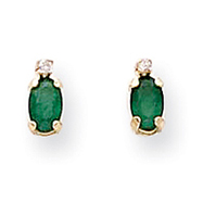 14K Gold Diamond & Emerald Birthstone Earrings