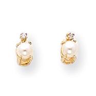 14K Gold Diamond & Cultured Pearl Birthstone Earrings