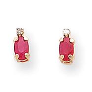 14K Gold Diamond & Ruby Birthstone Earrings