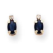 14K Gold Diamond & Sapphire Birthstone Earrings