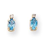 14K Gold Diamond &  Blue Topaz Birthstone Earrings