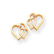 14K Gold Diamond Heart Earring