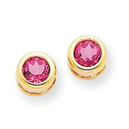 14K Gold Pink Topaz Bezel Post Earrings
