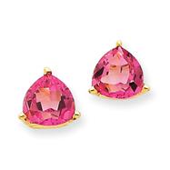 14K White Gold Pink Topaz Trillion Earrings