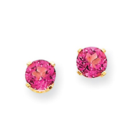 14K Gold Pink Topaz Round Stud Earrings