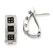 14K White Gold Black & White Diamond Earrings
