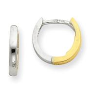 14k Two-Tone Gold 1.75mm Hinged Hoop Earrings