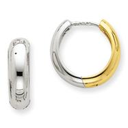 14K Two-Tone Huggie Earrings