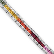 14K White Gold Princess Cut Rainbow Sapphire & Diamond Bracelet