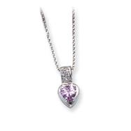 Sterling Silver Light Purple CZ Heart On 18