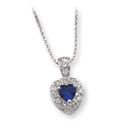 Sterling Silver Blue CZ Heart With Chain Necklace