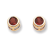 14K Gold Bezel January Garnet Post Earrings