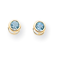 14K Gold Bezel December Blue Topaz Post Earrings