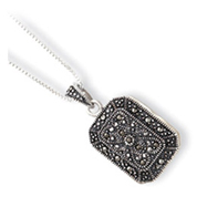 Sterling Silver Marcasite Locket  With 18