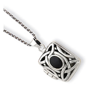 Sterling Silver Onyx & Marcasite Square Locket With Chain