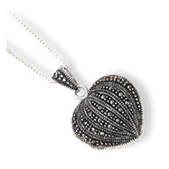 Sterling Silver Marcasite Heart Locket With Chain