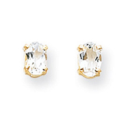 14K Gold Oval April White Zircon Post Earrings