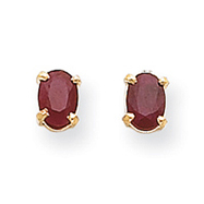 14K Gold Oval July Ruby Post Earrings