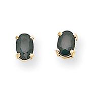 14K Gold Oval September Sapphire Post Earrings