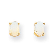 14K Gold Oval October Opal Post Earrings