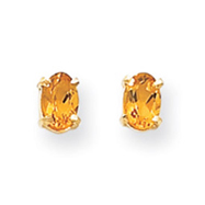 14K Gold Oval November Citrine Post Earrings