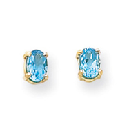 14K Gold Oval December Blue Topaz Post Earrings