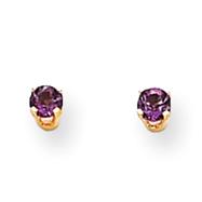 14K Gold February Amethyst Post Earrings
