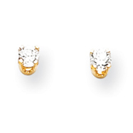 14K Gold April White Topaz Post Earrings