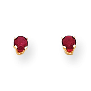 14K Gold July Ruby Post Earrings