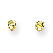 14K Gold August Peridot Post Earrings