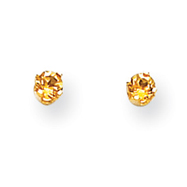 14K Gold November Citrine Post Earrings