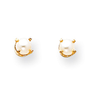 14K Gold June Cultured Pearl Post Earrings
