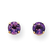 14K Gold February Amethyst Post Earrings