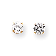 14K Gold April White Zircon Post Earrings