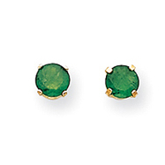 14K Gold May Emerald Post Earrings
