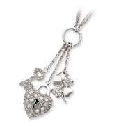 Sterling Silver Heart CZ Drop Necklace