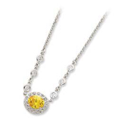 Sterling Silver Yellow & Clear CZ Necklace