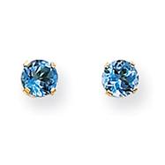 14K Gold December Blue Topaz Post Earrings