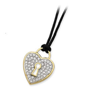 Sterling Silver Vermeil CZ Heart Black Wool Cord Necklace