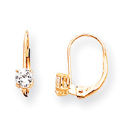 14K Gold April White Zircon Earrings