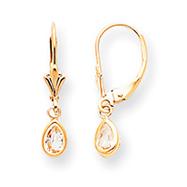 14K Gold White Zircon Earrings - April